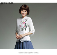 KYQIAO Traditional Chinese Clothing 2017 Women Spring Autumn Ethnic Three Quarter Sleeve Mandarin Collar White Embroidery
