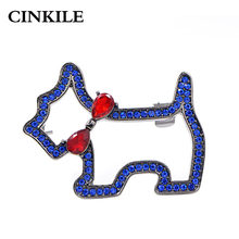CINKILE Blue Color Rhinestone Dog Brooches for Women Fashion Cute Animal Brooch Pin High Quality Kids Jewelry Summer Style(China)