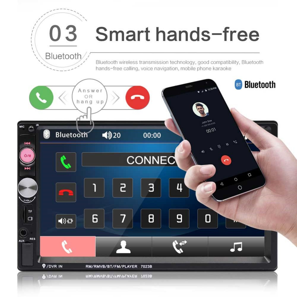 7 Inch HD Touch Screen Car Radio Bluetooth Stereo Audio