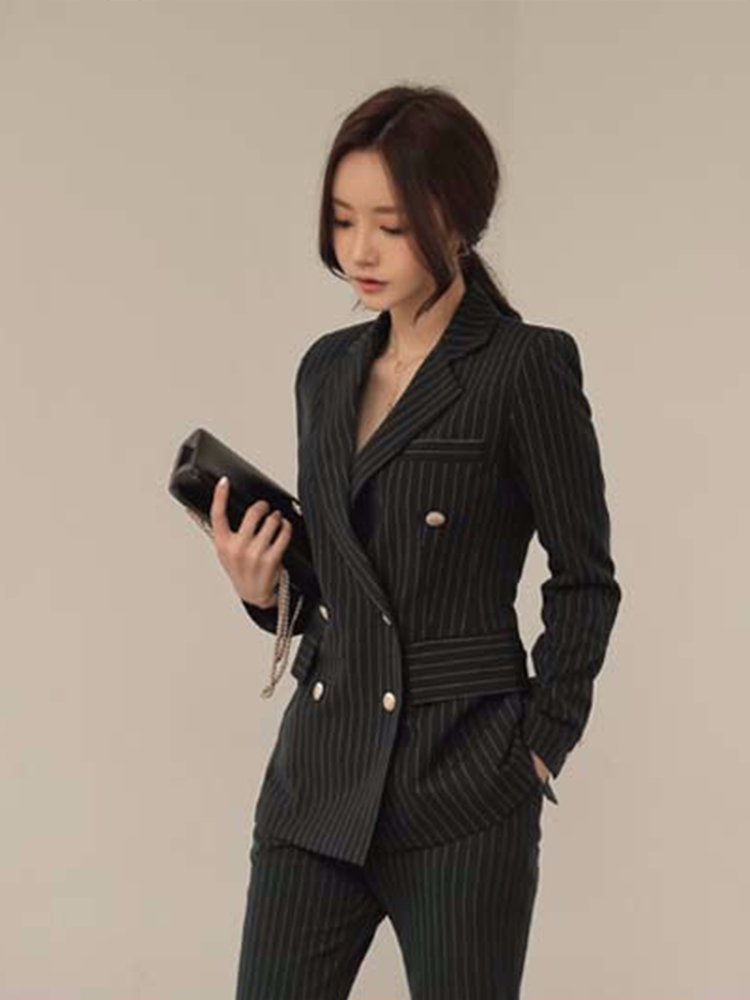 Women Clothing Slim Korean Vertical Stripes Small Suit Women Suit Professional Ladies Jacket Nine Points Feet Pants Two-piece
