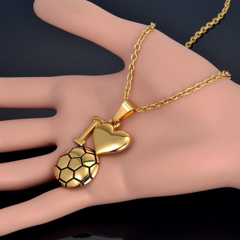 Emaille Fußball Halskette Gold Farbe Ich Liebe Fußball Anhänger - Modeschmuck - Foto 5