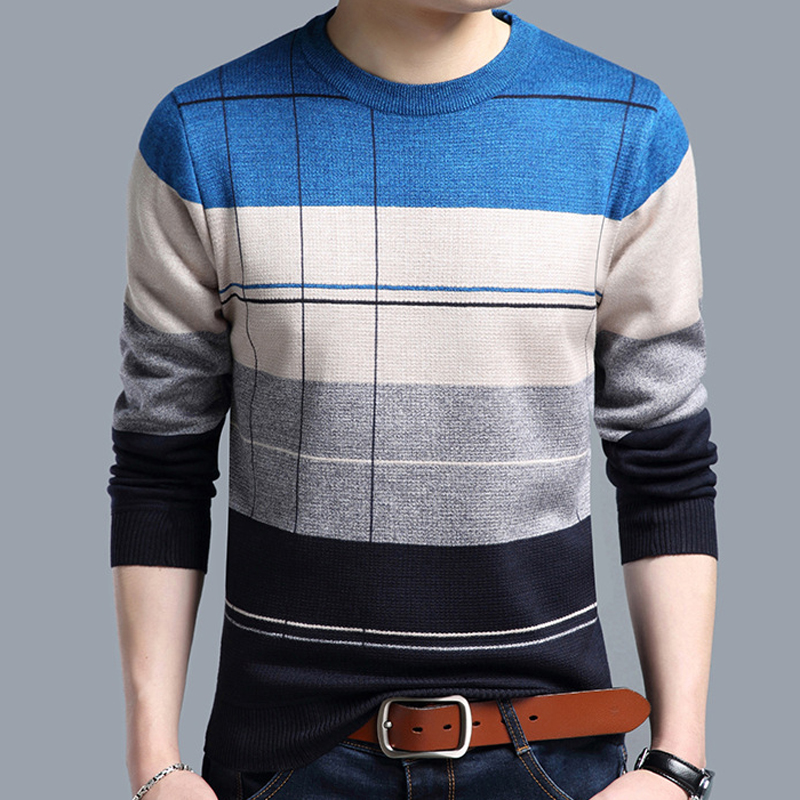 2018 brand social cotton thin men's pullover sweaters casual crocheted striped knitted sweater men masculino jersey clothes 5066 4