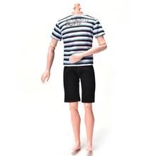 New 2Pcs/Set Summer Handmade Casual Cool Dool Suit Striped Print Shirt Black Short Pants For   Ken Accessories Hot Sell