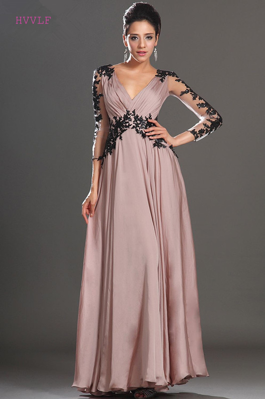 Pink Evening Dresses 2018 A-line V-neck 3/4 Sleeves Chiffon Lae Beaded Plus Size Long Evening Gown Prom Dresses Robe De Soiree