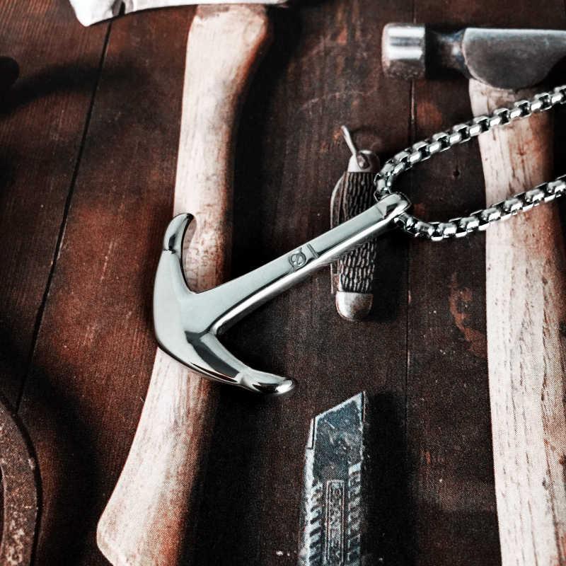 Mcilroy naszyjnik ze stali tytanu kotwica Fishman wisiorki hak Charm naszyjnik łańcuch mężczyzn wisiorki 316L naszyjniki biżuteria valentine