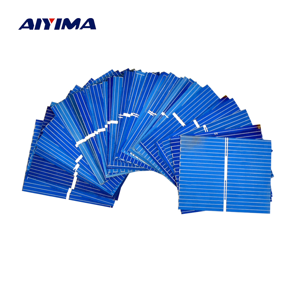 Aiyima 100pcs 0.5V 0.2W 0.4A 39*31.2mm Polycrystalline Silicon Solar Panel DIY Charger Battery Solar Cell