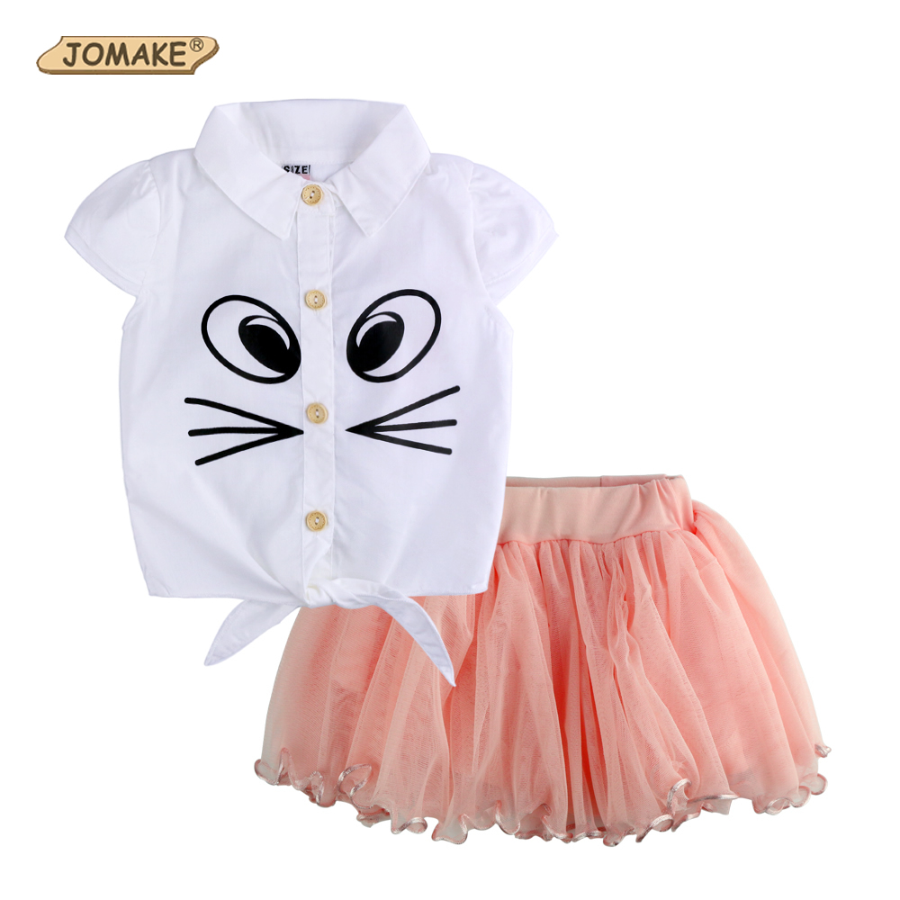 2017 Baby Summer Girls Clothing Set Cartoon Cat Blouse Yarn Tutu Lace Skirt Children Kids Clothes Newborn Suits Fashion Toddler original hubsan x4 h501c with 1080p hd camera brushless drone rc quadcopter rtf 2 4ghz gps altitude hold mode