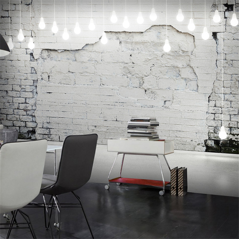 Beibehang custom industrial wind retro 3d cement brick for Black 3d brick wallpaper