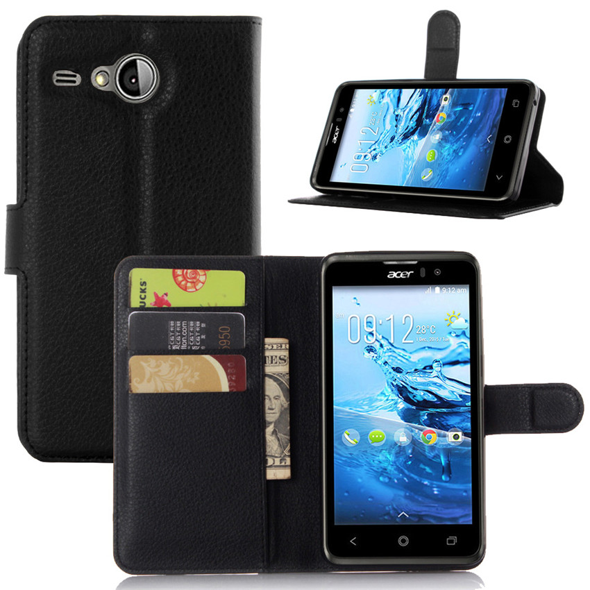 Luxury Lychee Print PU Leather <font><b>Case</b></font> For <font><b>Acer</b></font> <font><b>Liquid</b></font> <font><b>Z520</b></font> <font><b>Case</b></font> Flip Stand Wallet <font><b>Phone</b></font> Shell Back Cover With Card Holder
