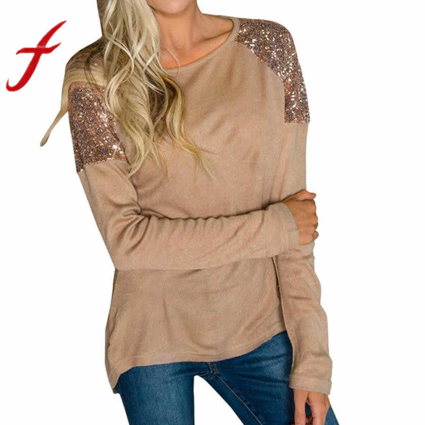 Feitong Fashion Sequins Splice T Shirts Womens Casual Tops Long Sleeve O- Neck Pullover Tee 0278f76ea43b