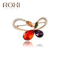Rox Korean fashion chest decoration three layer plating rose gold butterfly glass crystal brooch