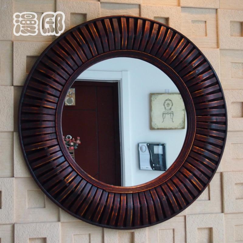 kingart antiguos grandes de bamb y de madera marco redondo espejo de pared saln mural deccorative