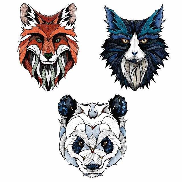 Geometric wolf bear head Wall Sticker Geometry panda Animal Series ...