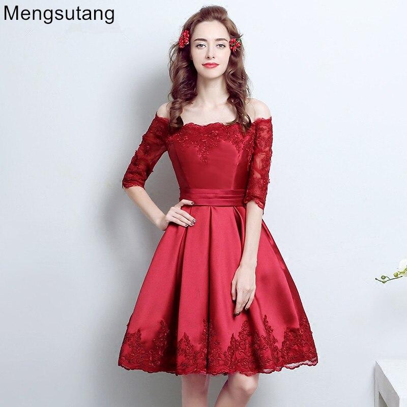 meilleure sélection 88b18 b85df € 41.27 10% de réduction|Robe de soirée 2019 épaule dénudée rouge demi  manches courtes slim brocart à lacets mariage bouquet vestido de festa  robes de ...