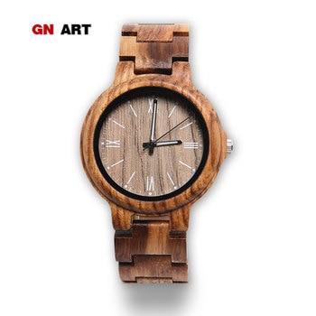GNART Men Wood Watch Quartz, Fashion Handmade Wooden Wrist Watches Mens, Zebra Black