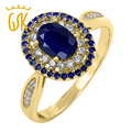 GemStoneKing 1.62 Ct Oval Natural Blue Sapphire 18K Yellow Gold Plated 925 Silver Women's Engagement Ring