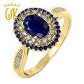 Gemstoneking 1.62 ct oval natural azul safira 18 k amarelo banhado a ouro 925 prata anel de noivado das mulheres