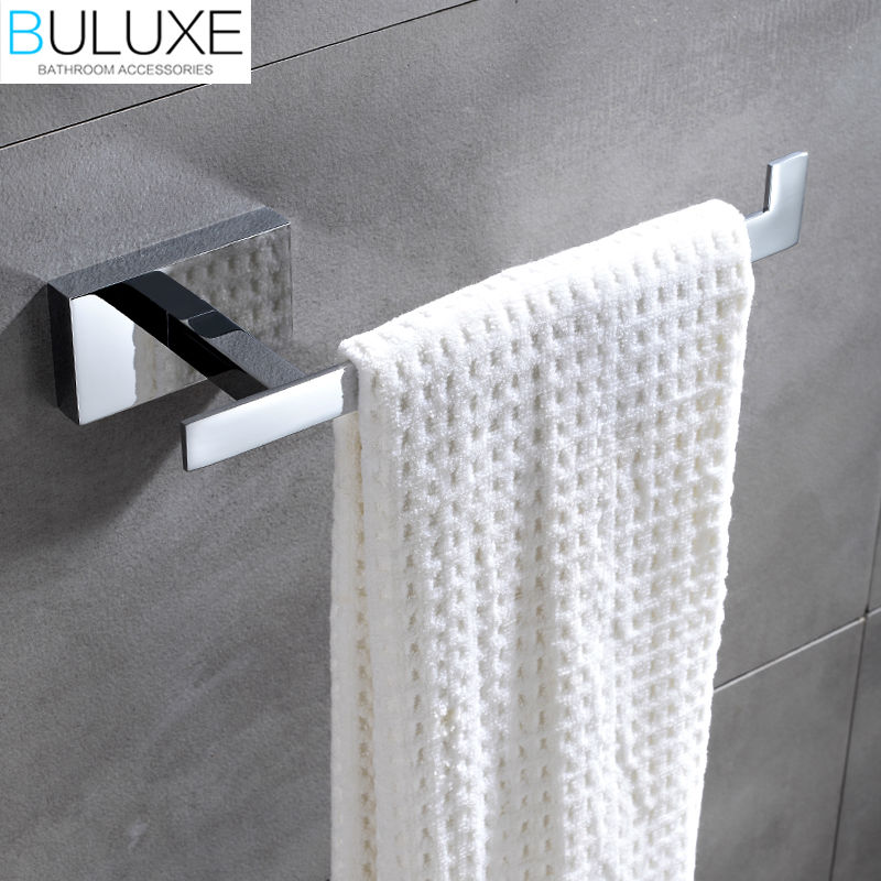 BULUXE Brass Bathroom Accessories Towel Rack Holder Rings Chrome Finished Wall Mounted Bath Acessorios de banheiro HP7756 buluxe brass bathroom accessories towel bar rack holder chrome finished wall mounted bath acessorios de banheiro hp7736