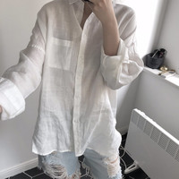 Women Clothes Spring New Solid Color Fashion Simple Loose Wild Comfortable Breathable Long sleeved Linen Shirt Women