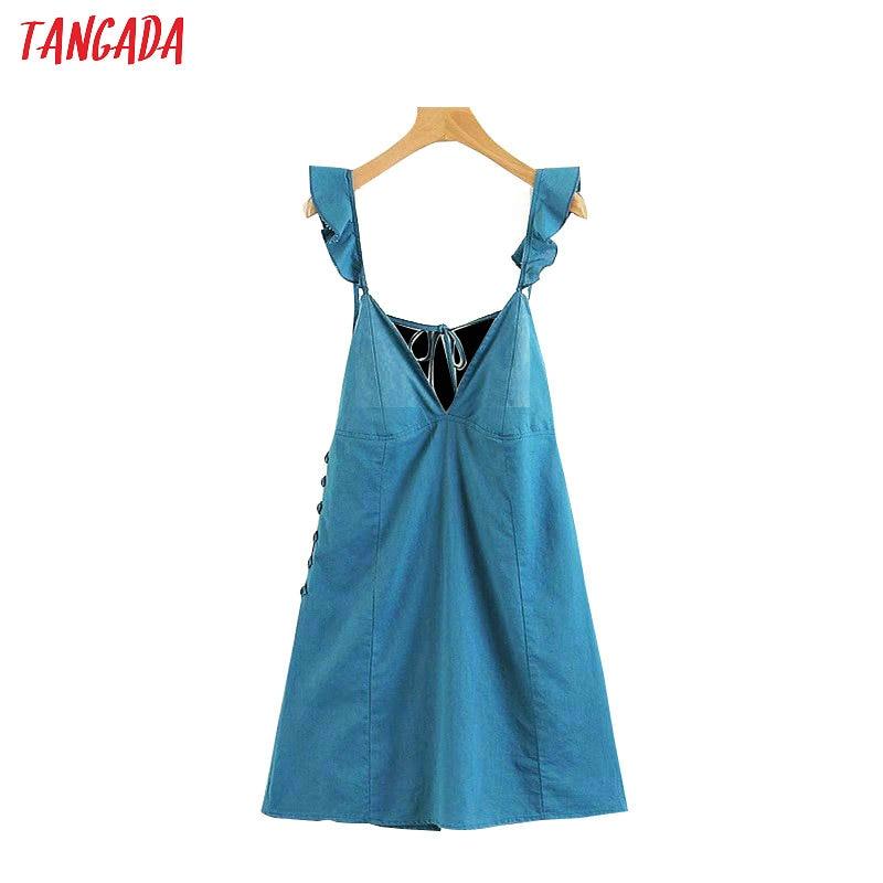 Selfless Tangada Women Sexy Ruffle Dress Red Deep V Neck Sleeveless Korean Fashion 2019 Backless Mini Dresses Holiday Brand Vestidos Lj22 Women's Clothing