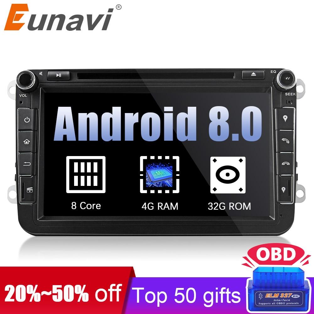 Eunavi 2 din Android 8.0 Octa Core 4GB RAM Car DVD for VW Passat CC Polo GOLF 5 6 Touran EOS T5 Sharan Jetta Tiguan GPS Radio bt