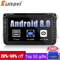 Eunavi 2 din Android 8.0 Octa Core 4GB RAM Car DVD for VW Passat CC Polo GOLF 5 6 Touran EOS T5 Sharan Jetta Tiguan GPS Radio bt