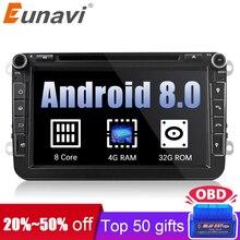 Eunavi 2 din Android 8,0 Octa Core 4 ГБ Оперативная память автомобиль DVD для VW Passat CC Поло Гольф 5, 6 touran EOS T5 Sharan Jetta Tiguan gps Радио bt
