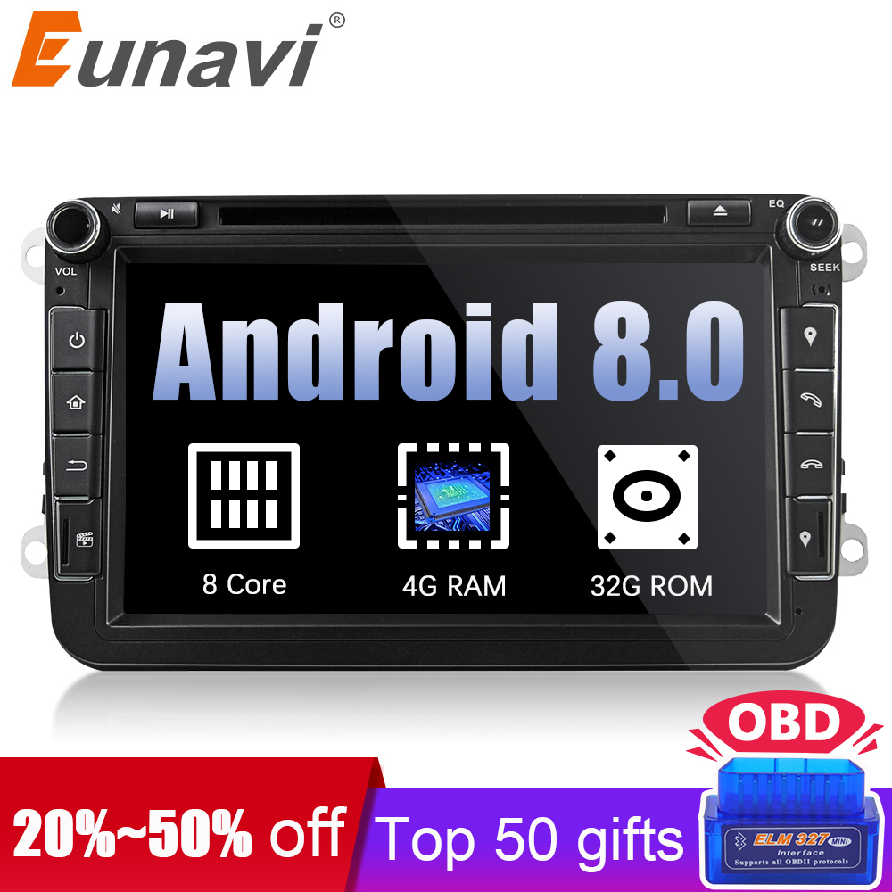 Eunavi 2din Android 8.0 Octa Core 4GB RAM Car DVD for VW Passat CC Polo GOLF 5 6 Touran EOS T5 Sharan Jetta Tiguan GPS Radio bt mydean 3004 2vw для vw golf jetta passat tiguan touran amarok transporter t5 caravelle t5