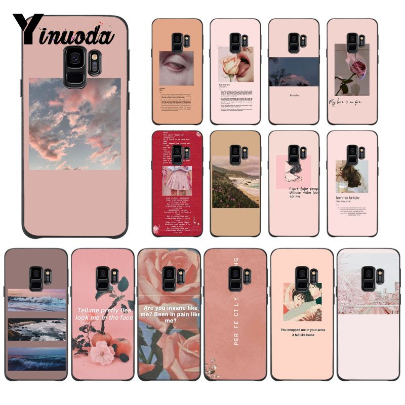 US $0 7 52% OFF|Yinuoda Pink Aesthetics songs lyrics Aesthetic Black Phone  Case Cover for Samsung Galaxy S9 plus S7 edge S6 edge plus S10 S8 plu-in