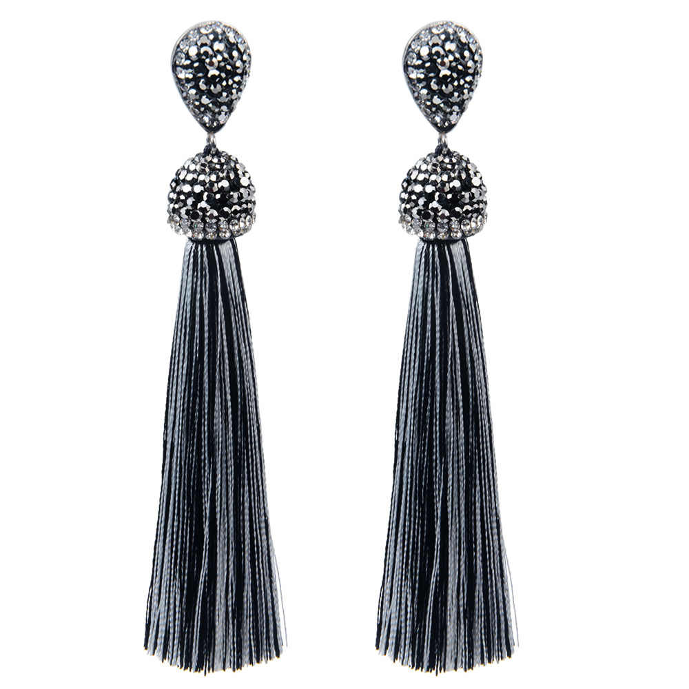 Handmade 12 Colors Long Tassel Earrings Bohemian Black Red Pink White Blue Silk Crystal Dangle Drop Earrings For Women Jewelry