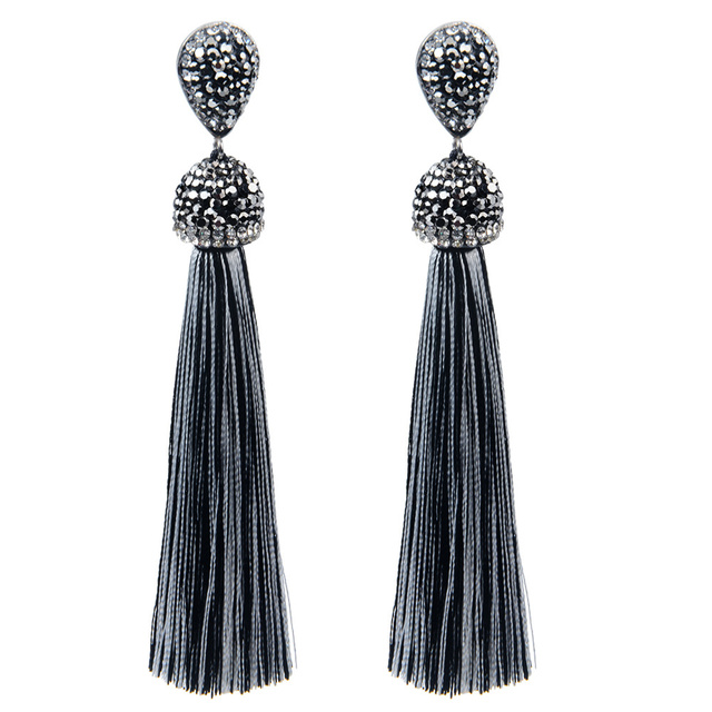 Handmade 12 Colors Long Tassel Earrings Bohemian Black Red Pink White Blue Silk