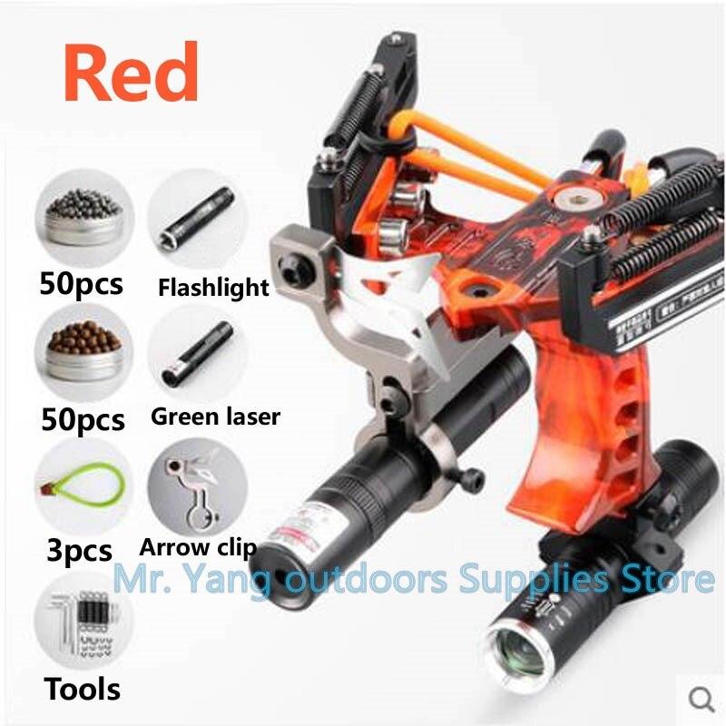 Laser Slingshot Black Red Hunting Bow Slingshot Fishing Outdoor Powerful Slingshot Catapult Slingshot Elastic Rubber Band Caza