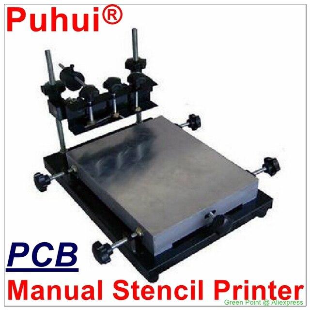 認可 PUHUI 高精度プリンタ 300 × 240 ミリメートルサイズのはんだペースト印刷マニュアル孔版印刷機シルク印刷機