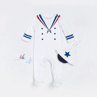 New Baby Boy Bodysuits White Navy Sailor Uniforms Overalls Winter Fall Boys Suit Costume Long Sleeve