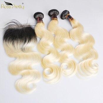 Extensiones de cabello humano Ross Pretty Ombre 1b 613 Remy con cierre de cuerpo brasileño ondulado con encaje de Color rubio
