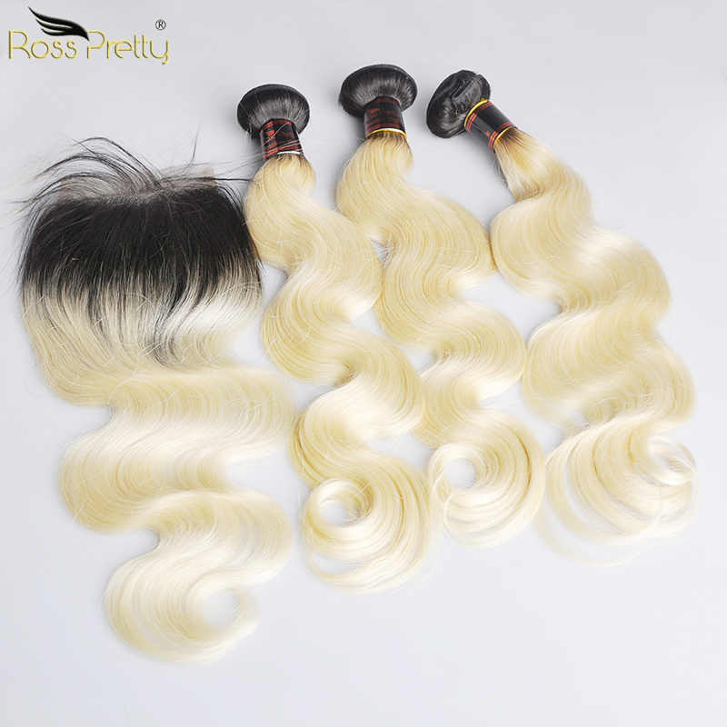 Ross Güzel Ombre 1b 613 Remy İnsan Saç Paketler Kapatma Ile Brezilyalı Vücut Dalga Dantel Renk Sarışın