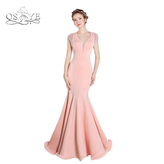 2017 Rosa sirena largo Vestidos de noche sexy backless Deep V ...