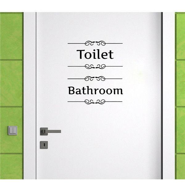 US Style Wall Sticker Decals Door Decor Bathroom Toilet Simple Seat Removable Decor Vinyl PVC