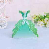 (100 pieces/pack) Princess Dress Sweet Candy Boxes Snow White Green Purple Wedding Gift Box For Birthday Baby Shower B063