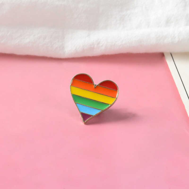 Regenboog Hart Badge Emaille pin Pride pin Gay LGBT Vlag Broche Revers pinnen Kleding Rugzak Tas Accessoires LGBT Sieraden Hart pin