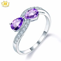 Hutang Stone Jewelry Natural Amethyst S925 Sterling Silver Bowknot Gemstone Engagement Ring Jewelry Women February Birthstone