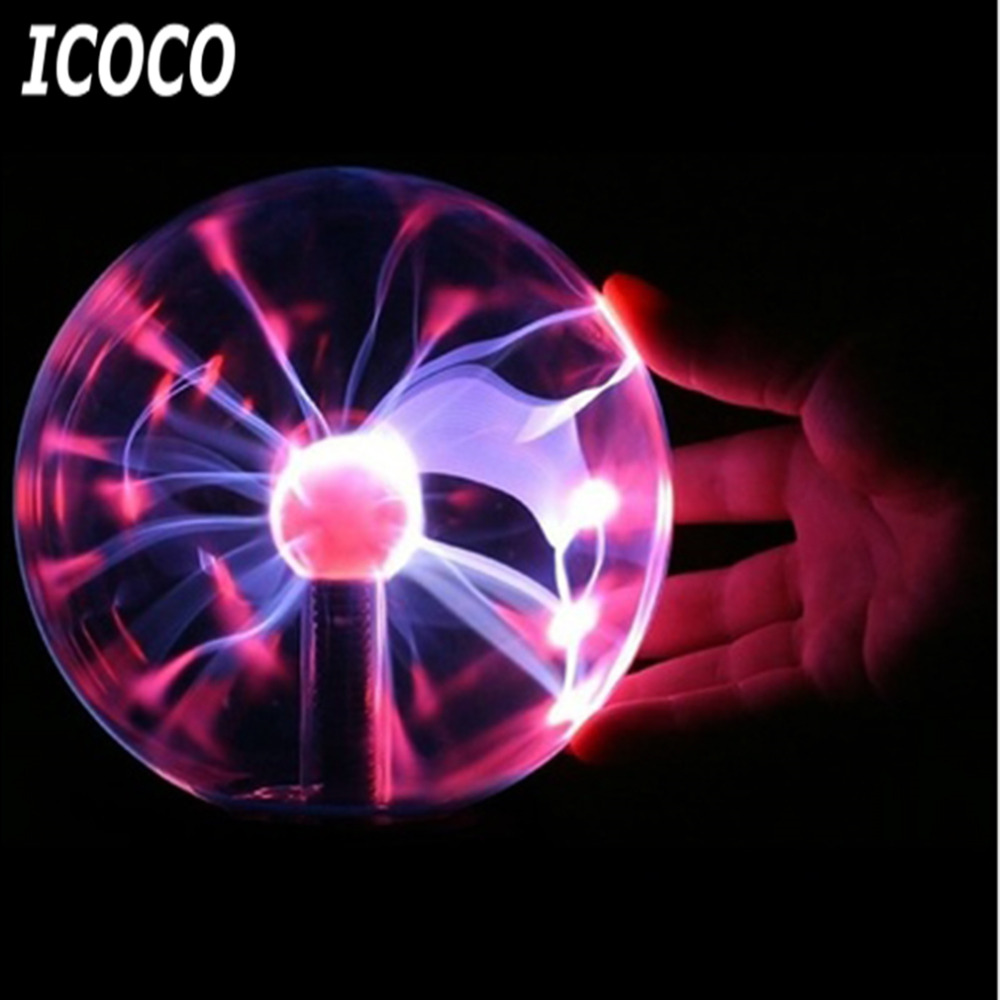 ICOCO USB Plasma Ball Electrostatic Sphere Light Magic Crystal Lamp Ball Desktop Lightning Christmas Party Touch Sensitive Light ac powered plasma ball red light lightning sphere 220v eu plug