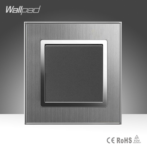 1 Gang 1 Way Wallpad Hight Quality EU UK Standard Silver Satin Metal Panel 1 Gang Push Button Wall Light Electric Switch Socket 10a universal socket and 3 gang 1 way switch wallpad 146 86mm white crystal glass 3 push button switch and socket free shipping