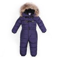 3 ~ 6 T Rosyjski Zima Dziecko Dół Romper Dziewczyny Kombinezony Catsuit Zewnątrz dla Chłopca Dzieci Strój Bebe Śnieg Prawdziwe Futra Zwierząt Kaptur pajacyki