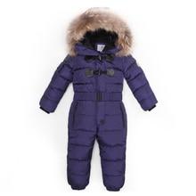 От 3 до 6 лет русская зима ребенка вниз ползунки для девочек Комбинезон тёплые комбинезоны для мальчиков костюм Джона Сноу Bebe натуральный мех животного комбинезоны с капюшоном