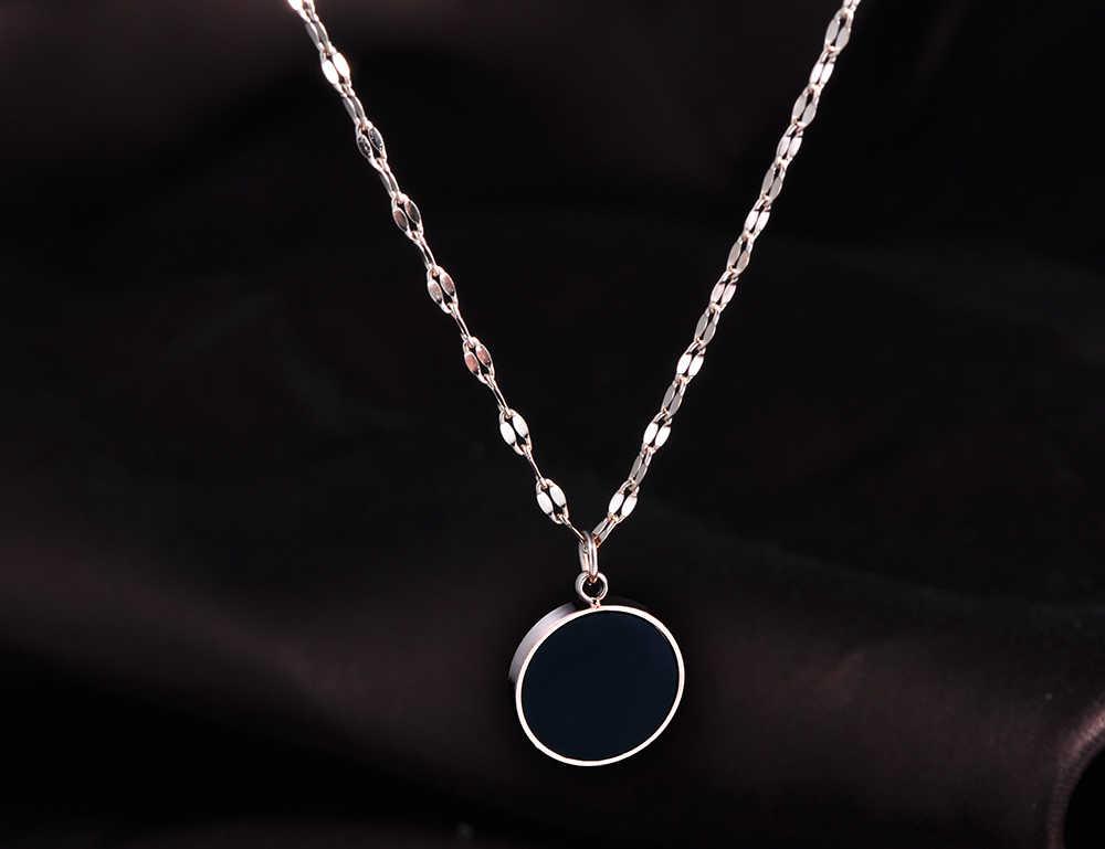 JeeMango Золотая круглая черная акриловая цепочка с кулоном для женщин, простая титановая стальная цепочка, свадебное ожерелье, ювелирные изделия
