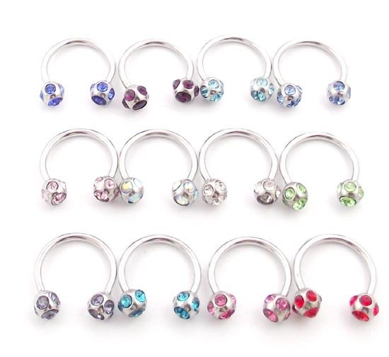 16g 4mm ball multi gem horseshoe eyebrow ring lip ring body jewelry mixed 12 color, 100pcs/lot