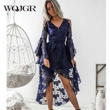 WQJGR 2019 news Sexy lace dress women V-neck Flare sleeve Stitching Irregular Hem Chiffon Dress