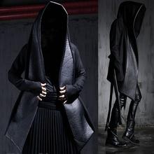Harajuku Leather Designer Wool Pea Coat Hooded Cloak Jacket Overcoat 2016 New Fashion Mens Winter Dress Gothic Trench Coats