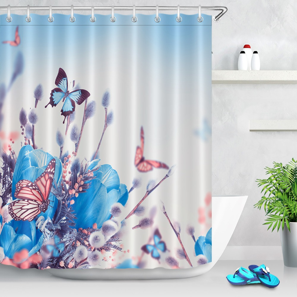 LB 72 Blue Tulips With Mimosa Butterfly Shower Curtains Floral Waterproof Bathroom Curtain Fabric Polyester For Bathtub Decor In From